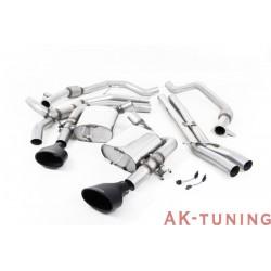 """Audi RS4 B9 2.9 V6 Avant - Cat-back - Resonated (Race-mindre dämpad) inkl spjäll - svarta ovala ändrör - 2,76"""""""