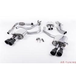 Audi S4 3.0T V6 - Cat-back (resonated) mer dämpad - Quad GT-100 Cerakote svarta ändrör | SSXAU641
