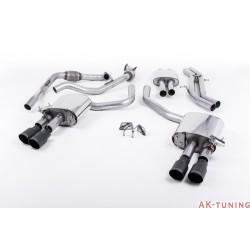 Audi S4 3.0T V6 - Cat-back (resonated) mer dämpad - Quad GT-90 Cerakote Black ändrör | SSXAU645