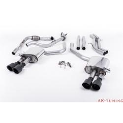 Audi S4 3.0T V6 - Cat-back (non-resonated) mindre dämpad - Quad GT-100 Cerakote Black ändrör | SSXAU651