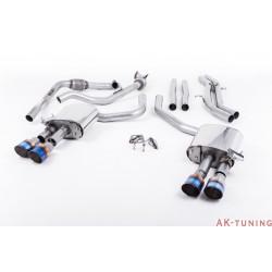 Audi S4 3.0T V6 - Cat-back (non-resonated) mindre dämpad - Quad GT-100 Burnt Titanium ändrör | SSXAU653