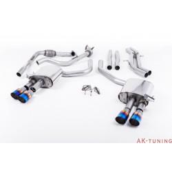 Audi S4 3.0T V6 - Cat-back (non-resonated) mindre dämpad - Quad GT-90 Burnt Titanium ändrör | SSXAU654