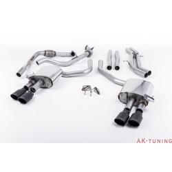 Audi S4 3.0T V6 - Cat-back (non-resonated) mindre dämpad - Quad Cerakote Black Oval ändrör | SSXAU656
