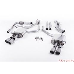 Audi S4 3.0T V6 - Cat-back (non-resonated) mindre dämpad - Quad GT-90 Titanium ändrör | SSXAU657