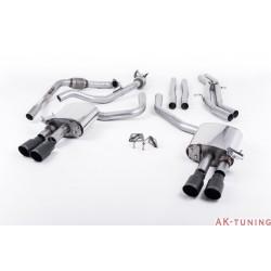 Audi S4 3.0T V6 - Cat-back (non-resonated) mindre dämpad - Quad GT-90 Cerakote Black ändrör | SSXAU658