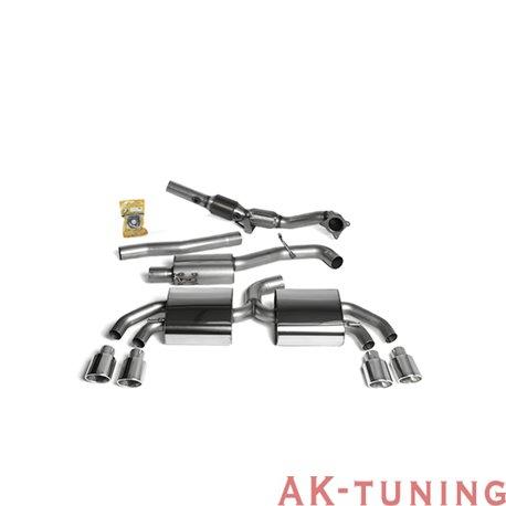 """Audi TTS quattro Full System (med racekatalysator) - 3"""" Race System. Resonated (mer dämpad). Polished ändrör. Kräver Steg 2 m..."""